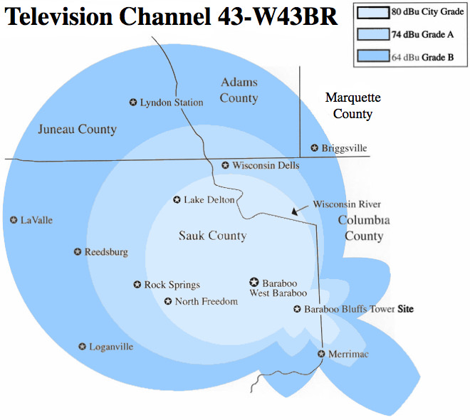 TV Channel 43 coverage map