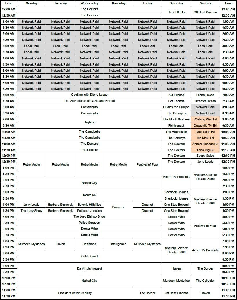 retro tv 43 schedule | 99.7 max fm